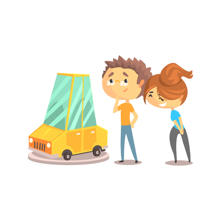 Couple buying car together. Auto business, car sale, dealership. Colorful character vector Illustration isolated on a white background Illustration