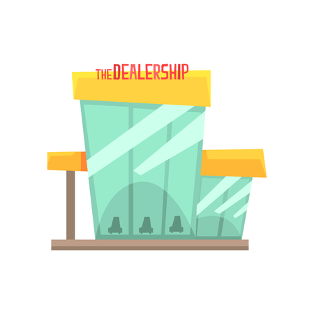 Dealership building with new cars on display. Colorful cartoon vector Illustration isolated on a white background Иллюстрация