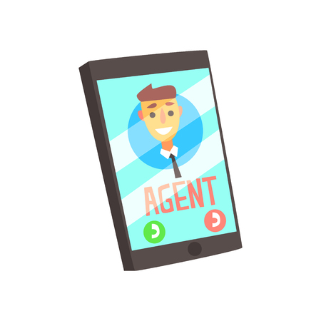 Smartphone With agent male avatar on the screen. Colorful cartoon vector Illustration isolated on a white background Illustration