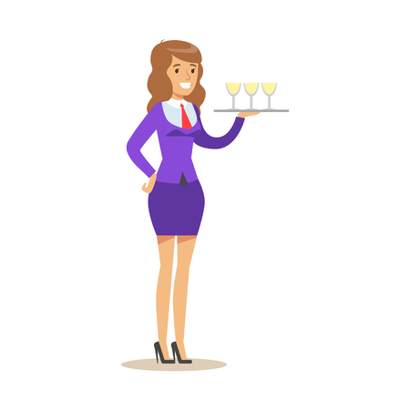 Cheerful waitress holding a tray with champagne glasses, serving drinks. Friendly waitress standing with tray with glasses. Colorful cartoon character vector Illustration isolated on a white background