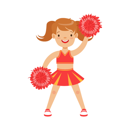 Cute little cheerleader girl dancing with red pompoms. Red and yellow cheerleader uniform. Colorful cartoon character vector Illustration isolated on a white background