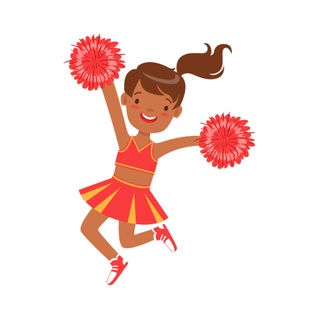 Smiling little cheerleader dancing with red pompoms. Red and yellow cheerleader uniform. Colorful cartoon character vector Illustration isolated on a white background