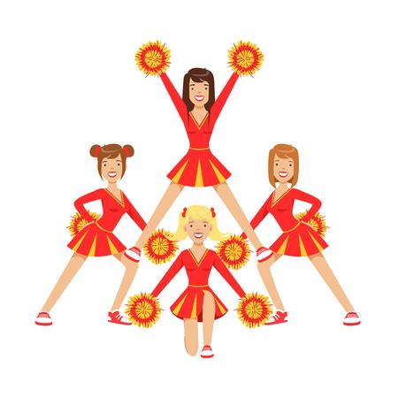 경쟁하는 동안 축구 팀을 지원하기 위해 춤 pompoms와 치 어 리더 여자. 빨간색과 노란색 치어 리더 유니폼입니다. 고등학교 치어 리더 팀. 흰 배경에 고 일러스트