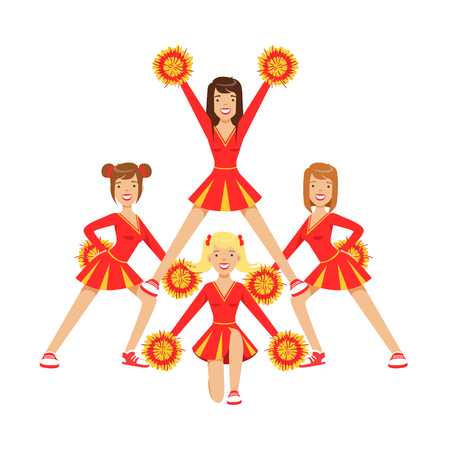 Cheerleader girls with pompoms dancing to support football team during competition. Red and yellow cheerleader uniform. High school cheerleading team. Colorful cartoon character vector Illustration isolated on a white background Ilustrace
