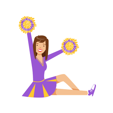 Happy girl teenager sitting with colorful pompoms. Purple and yellow cheerleader uniform. Colorful cartoon character vector Illustration isolated on a white background Illusztráció