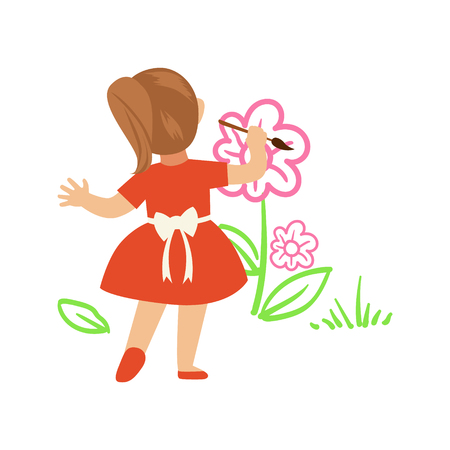 Cute little girl in red dress painting flowers on a white wall. A small artist, education and child development. Colorful character vector Illustration isolated on a white background