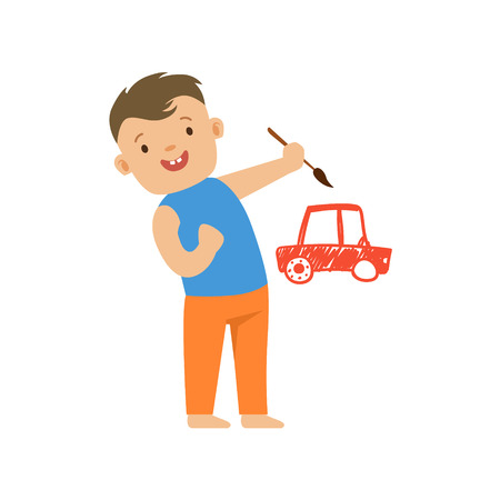 Cute smiling little boy painting a red car on a white wall. A small artist, education and child development. Colorful character vector Illustration isolated on a white background Illustration