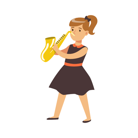 Young girl in black dress playing on saxophone. Cute talented schoolgirl play on musical instrument, music lesson. Colorful character vector Illustration isolated on a white background