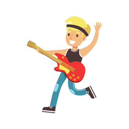 Young smiling boy playing guitar. Cute talented young boy play on musical instrument, music lesson. Colorful character vector Illustration isolated on a white background Illustration