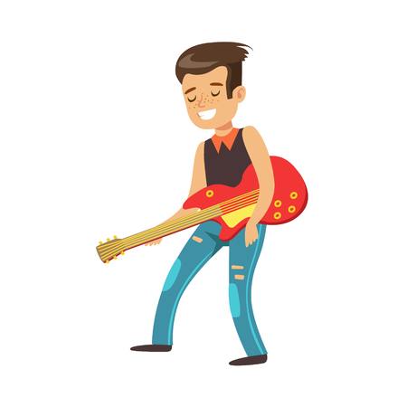 Happy young boy playing guitar. Cute talented young boy play on musical instrument, music lesson. Colorful character vector Illustration isolated on a white background