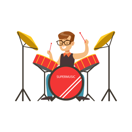 Little boy playing drums, little drummer. Cute talented young boy play on musical instrument, music lesson. Colorful character vector Illustration isolated on a white background
