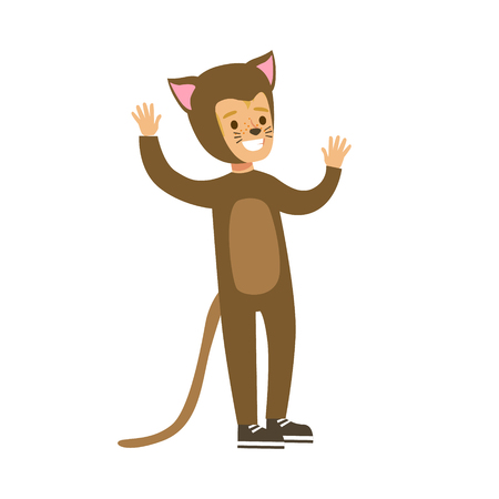 stage costume: Child dressed as a cat with with cat makeup, performing in theatrical show. Happy kid showing his artistic talent in fairytale performance. Colorful cartoon character vector Illustration isolated on a white background