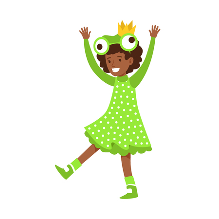 stage costume: Cute little girl dressed as a frog, performing in theatrical show. Happy girl showing his artistic talent in fairytale performance. Colorful cartoon character vector Illustration isolated on a white background
