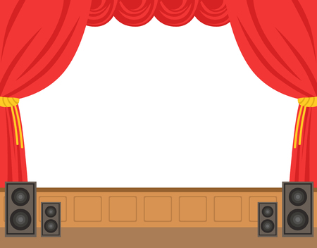 Theater stage with opened red curtain. Colorful cartoon character vector Illustration isolated on a white background Vettoriali