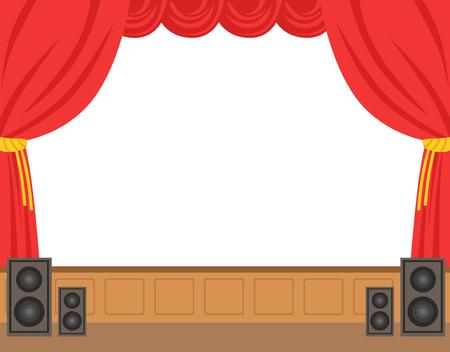 Theaterbühne mit geöffnetem rotem Vorhang. Bunte Cartoon Zeichen Vektor Illustration isoliert auf weißem Hintergrund Vektorgrafik