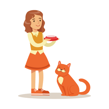 Cute little girl holding a bowl with milk and red cat sitting next to her. Kid has fun playing and caring for his pet. Colorful cartoon character vector Illustration isolated on a white background