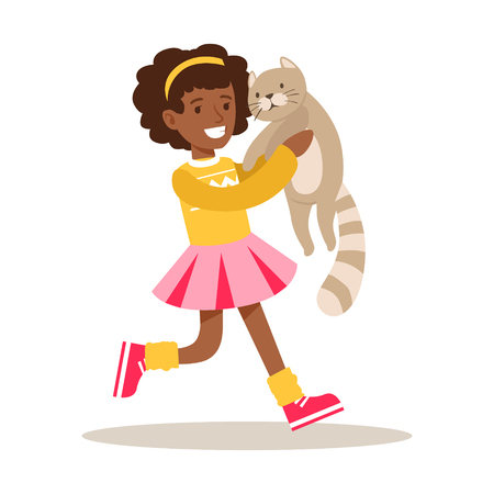 Happy girl holding a gray cat on her hands. Kid has fun playing and caring for his pet. Colorful cartoon character vector Illustration isolated on a white background Ilustração