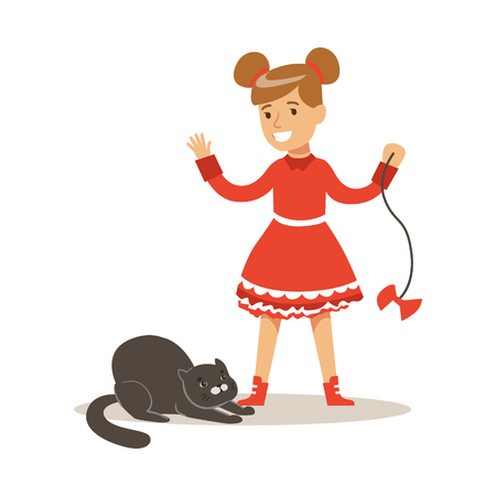 Funny little girl in red dress playing with black cat. Kid has fun playing and caring for his pet. Colorful cartoon character vector Illustration isolated on a white background