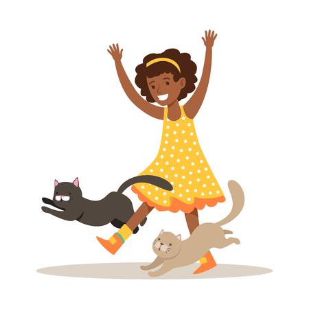 Gelukkig klein meisje spelen met twee kittens. Kind heeft plezier bij het spelen en verzorgen van zijn huisdier. Kleurrijke cartoon karakter vector illustratie geïsoleerd op een witte achtergrond Stock Illustratie