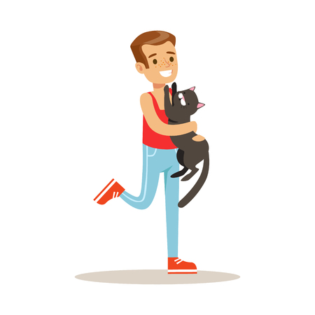 Smiling boy holding a black cat on his hands. Kid has fun playing and caring for his pet. Colorful cartoon character vector Illustration isolated on a white background