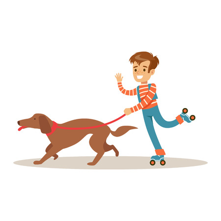Boy rollerblading with his dog on a leash. Colorful cartoon character vector Illustration isolated on a white background