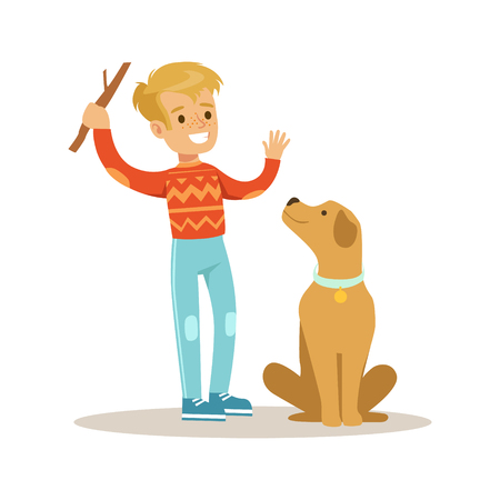 Cute smiling boy playing with his dog. Colorful cartoon character vector Illustration isolated on a white background