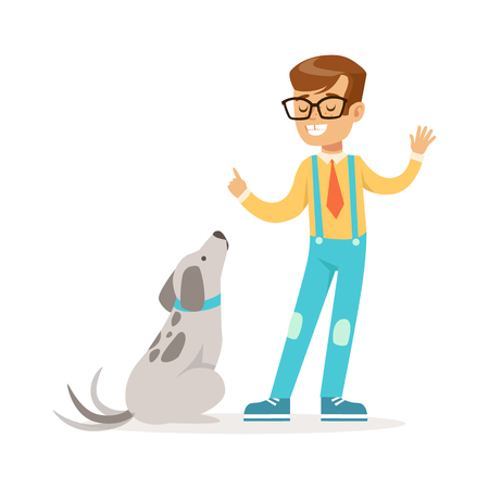 Cute boy wearing glasses teaching his dog. Colorful cartoon character vector Illustration isolated on a white background Illustration