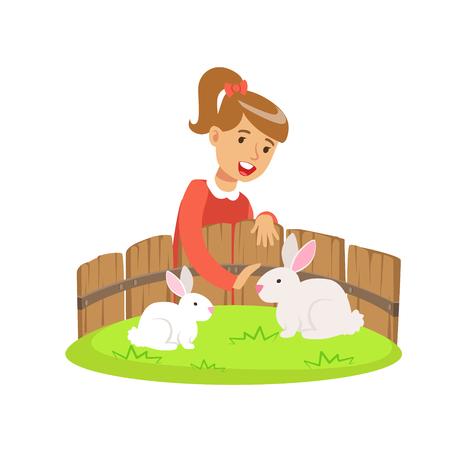 미니 동물원에 두 흰 토끼를 듬 웃는 어린 소녀를 웃 고. 흰 배경에 고립 된 다채로운 만화 캐릭터 벡터 일러스트