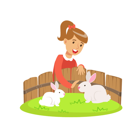 Smiling little girl petting two white rabbits in a mini zoo. Colorful cartoon character vector Illustration isolated on a white background
