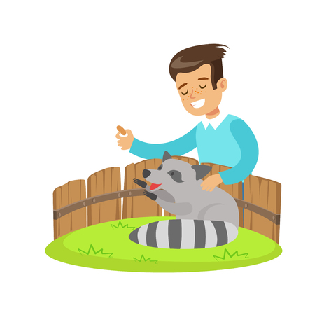 Smiling little boy petting and feeding a raccoon in a mini zoo. Colorful cartoon character vector Illustration isolated on a white background