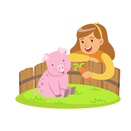fondle: Happy little girl feeding pink pig with carrot in a mini zoo. Colorful cartoon character vector Illustration isolated on a white background