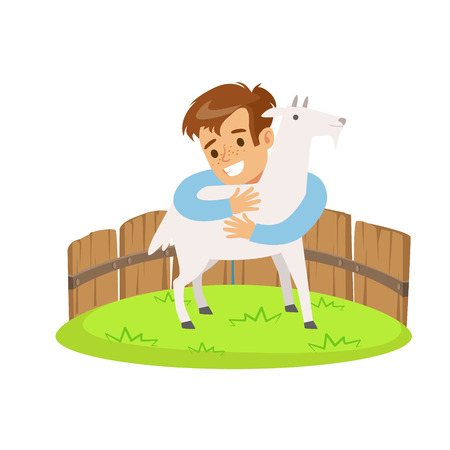 fondle: Happy little boy embracing a white goat in a mini zoo. Colorful cartoon character vector Illustration isolated on a white background Illustration