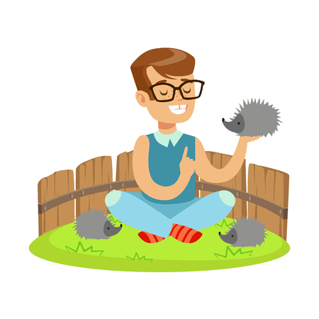 fondle: Happy little boy sitting on green grass and playing with hedgehogs in a mini zoo. Colorful cartoon character vector Illustration isolated on a white background