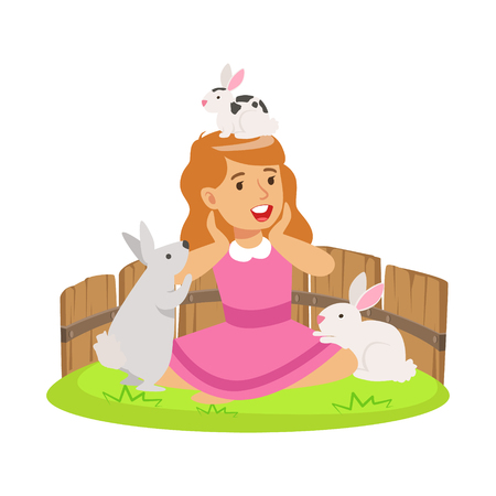 Happy smiling girl playing with small rabbits in a mini zoo. Colorful cartoon character vector Illustration isolated on a white background Illustration
