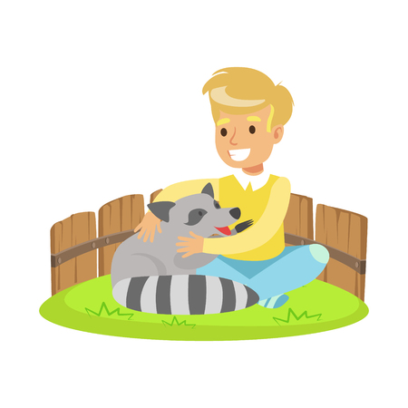 Happy little boy sitting on green grass and petting raccoon in a mini zoo. Colorful cartoon character vector Illustration isolated on a white background Illustration