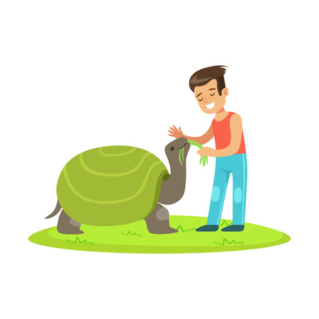 Happy little girl feeding with grass a huge turtle outdoor. Colorful cartoon character vector Illustration isolated on a white background Illustration