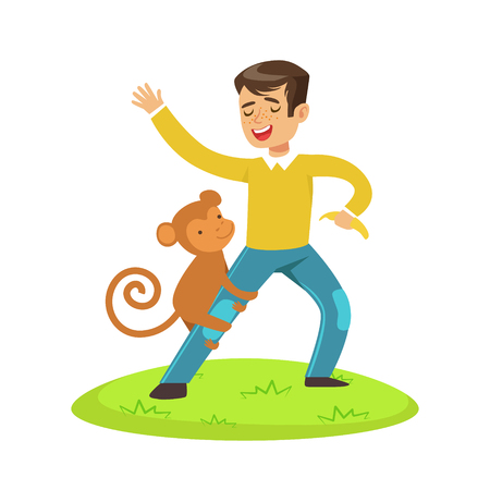 Cute happy boy standing and playing with monkey outdoor. Colorful cartoon character vector Illustration isolated on a white background