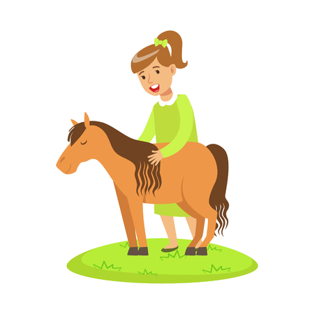 Happy cute little girl standing and petting a little pony outdoor. Colorful cartoon character vector Illustration isolated on a white background