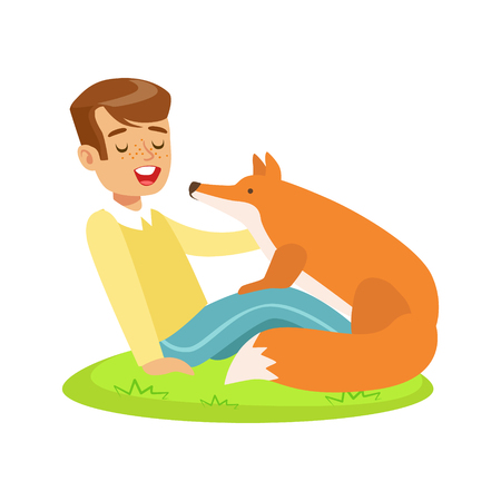Smiling boy sitting on green grass and petting red fox. Colorful cartoon character vector Illustration isolated on a white background