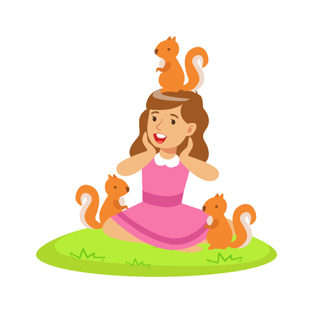 Smiling happy girl sitting on green grass and playing with red squirrels. Colorful cartoon character vector Illustration isolated on a white background Illustration