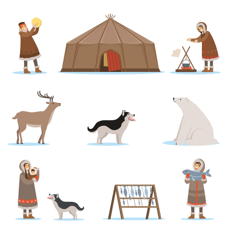 fur hood: Eskimo characters in traditional clothing, arctic animals, igloo house. Life in the far north. Set of colorful cartoon detailed vector Illustrations isolated on white background