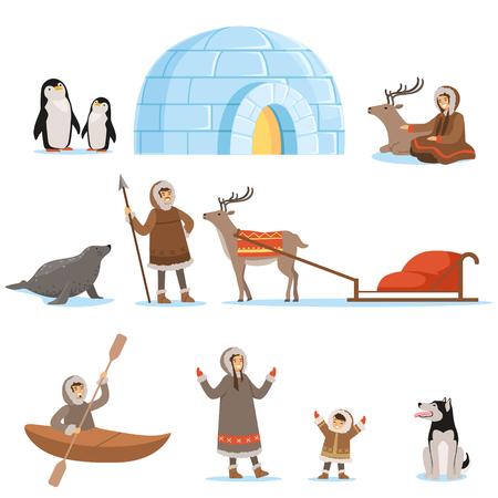 Personajes esquimales con vestimenta tradicional y sus animales árticos. La vida en el extremo norte. Conjunto de ilustraciones detalladas de dibujos animados coloridos aislados sobre fondo blanco