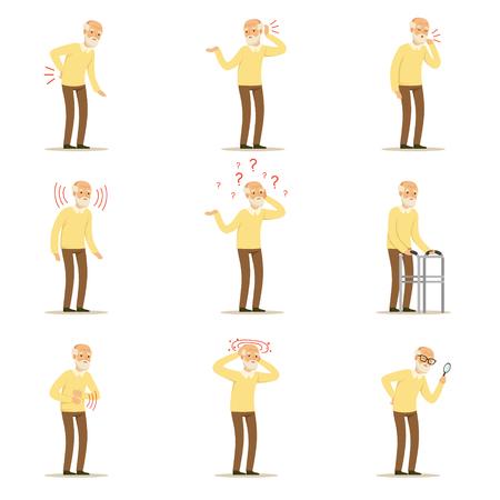 Enfermedades del hombre anciano, problema de dolor en espalda, cuello, brazo, corazón, rodilla y cabeza. Senior salud conjunto de personajes de dibujos animados de colores vectorial detallada ilustraciones aisladas sobre fondo blanco