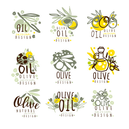 Olive oil set for label design. Organic, natural and healthy food. Vector Illustrations for olive oil packaging, stickers, cards