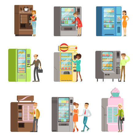 Consumers standing near vending machine and going to buy a drinks and food. Set of colorful cartoon detailed vector Illustrations isolated on white background Illustration