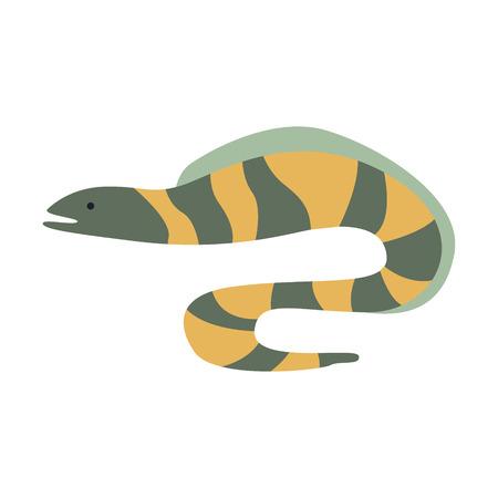 灰色と黄色のストライプのウツボ ウナギ、地中海の海洋動物とリーフの生活イラスト シリーズの一部。水族館要素は、様式化されたアイコン、水中  イラスト・ベクター素材