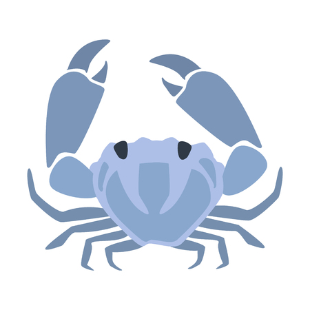 Blue Crab, Part Of Mediterranean Sea Marine Animals And Reef Life Illustrations Series