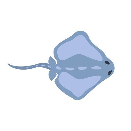 Blue Stingray Fish, Part Of Mediterranean Sea Marine Animals And Reef Life Illustrations Series