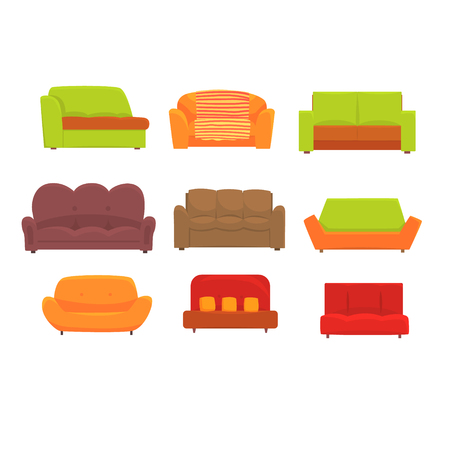 Sofas, furniture for living room. Comfortable couch set of colorful detailed vector Illustrations