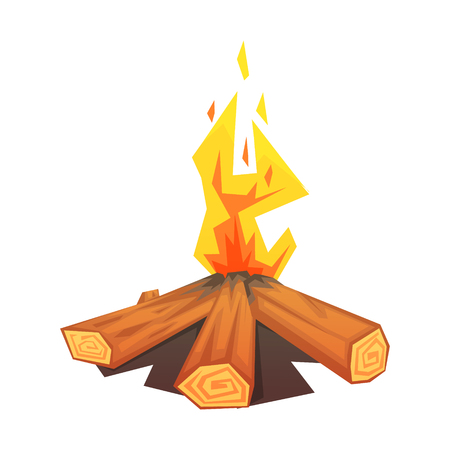 Burning bonfire, colorful vector illustration isolated on a white background